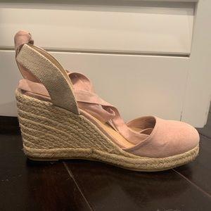 blush wedge shoe